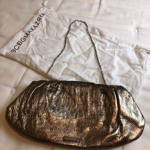 BCBGMAXAZRIA Metallic Clutch with Chain & Dust Bag
